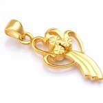 Woman Gold Plated Flower Pendant With Leather Strap 2