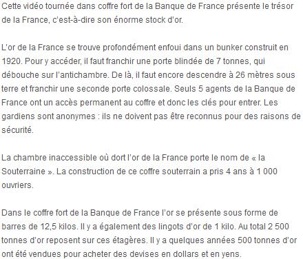 Le trésor d'or de la France